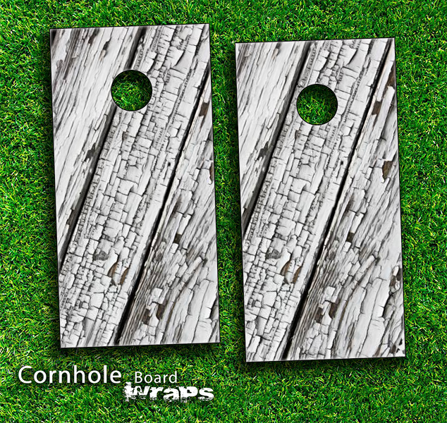 Slanted White Wood Skin-set for a pair of Cornhole Boards