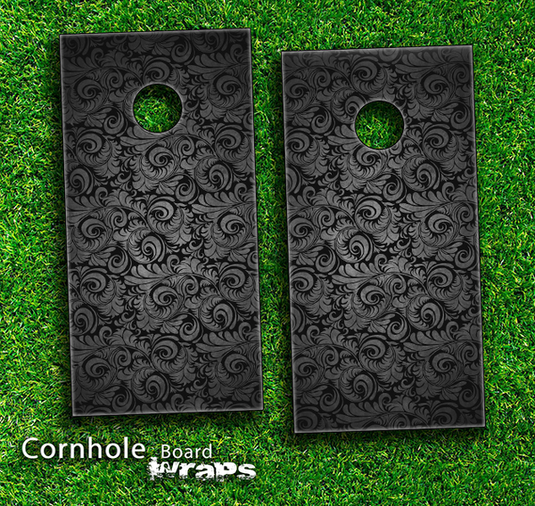 Black Paisley Pattern Skin-set for a pair of Cornhole Boards