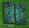 Green & Gold Paisley Pattern Skin-set for a pair of Cornhole Boards