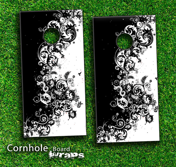 Abstract Black & White Swirls Skin-set for a pair of Cornhole Boards