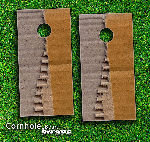 Torn Cardboard Skin-set for a pair of Cornhole Boards