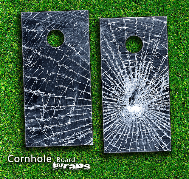 SHattered Glass Skin-set for a pair of Cornhole Boards