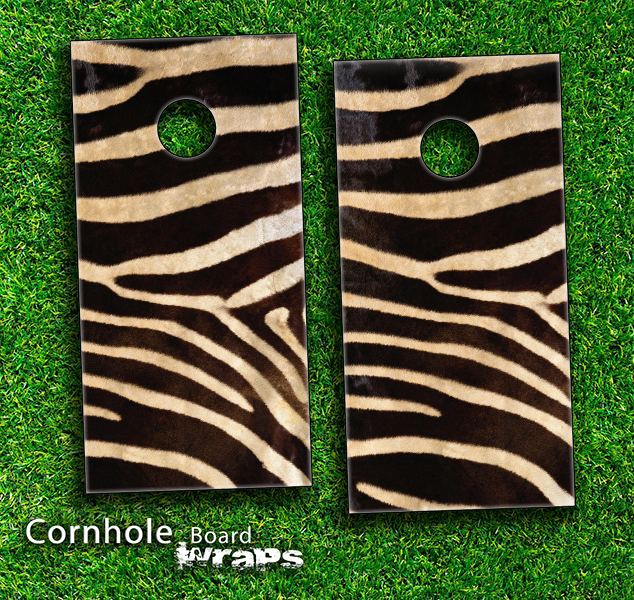 Real Zebra Print Skin-set for a pair of Cornhole Boards