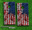 Vintage American Flag Skin-set for a pair of Cornhole Boards