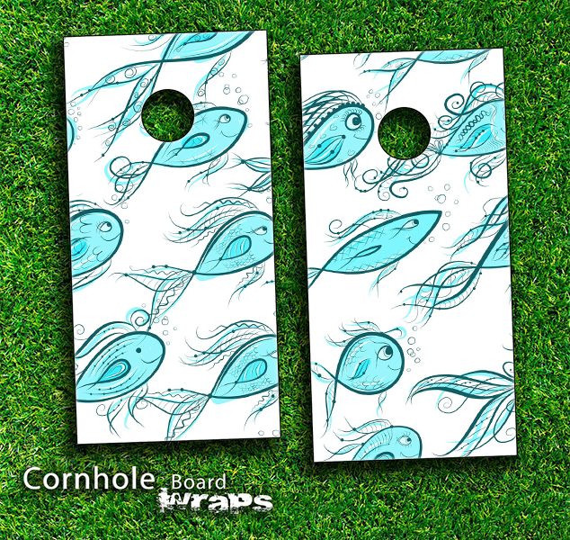 Turquoise Fishy Fishy Skin-set for a pair of Cornhole Boards