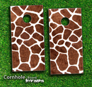 Real Giraffe Animal Print Skin-set for a pair of Cornhole Boards