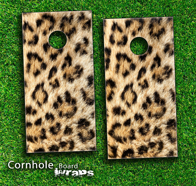 The Real Leopard Animal Print Skin-set for a pair of Cornhole Boards