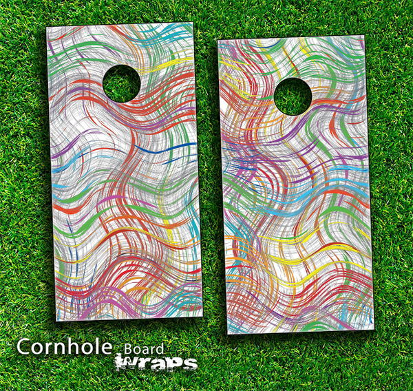 Colorful Crazy Lines Skin-set for a pair of Cornhole Boards
