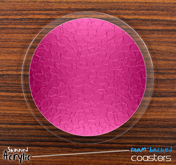 The Pink Stamped Skinned Foam-Backed Coaster Set