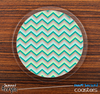 The Subtle Greens Chevron Pattern Skinned Foam-Backed Coaster Set