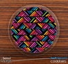 The Abstract Zig Zag Bright Colors Skinned Foam-Backed Coaster Set