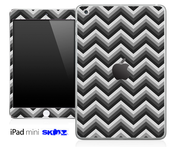 Black and Gray Chevron Pattern Skin for the iPad Mini or Other iPad Versions