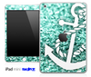 Glimmer Aqua Green and White Anchor Skin for the iPad Mini or Other iPad Versions