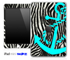 Real Zebra Print and Turquoise Anchor Skin for the iPad Mini or Other iPad Versions