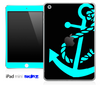 Solid Black and Turquoise Anchor Skin for the iPad Mini or Other iPad Versions
