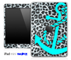 Real Leopard Print and Turquoise Anchor Skin for the iPad Mini or Other iPad Versions