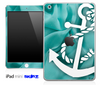 Aqua Green Sheets and White Anchor Skin for the iPad Mini or Other iPad Versions