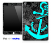 Black Paisley Floral and Turquoise Anchor Skin for the iPad Mini or Other iPad Versions