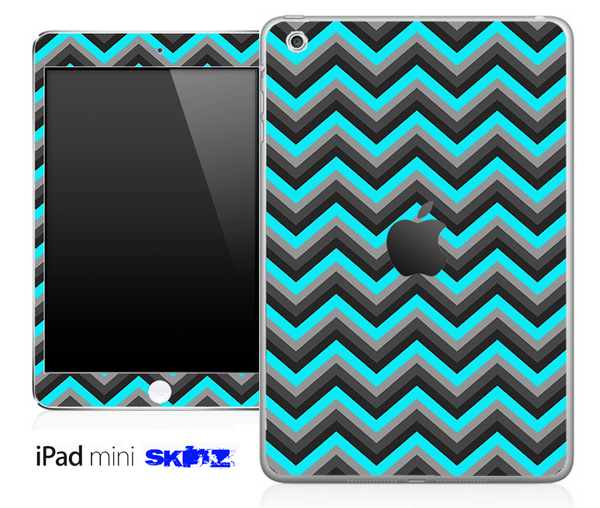 Aqua Blue, Black and Gray Chevron Pattern Skin for the iPad Mini or Other iPad Versions