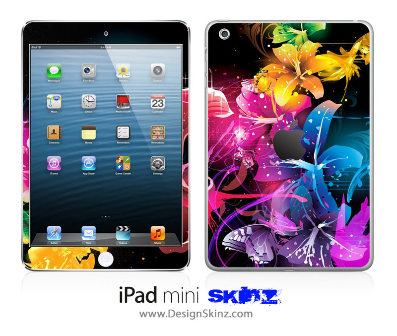 Abstract Neon Flowers iPad Skin