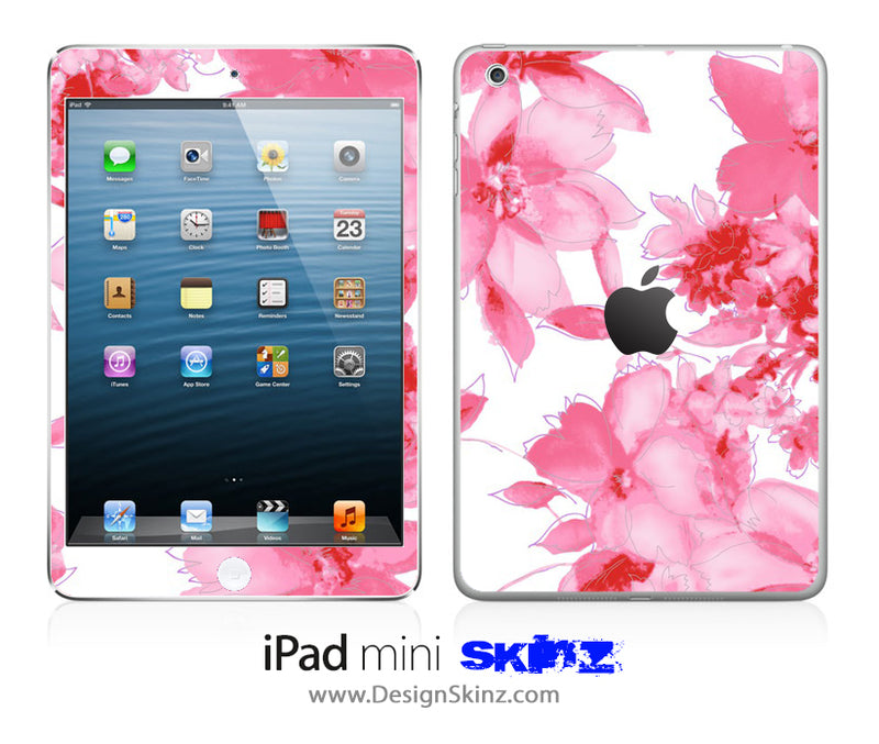 Sketched Pink Flowers iPad Skin