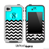 Custom Monogram Initials Turquoise Chevron Pattern Skin for the iPhone 5 or 4/4s LifeProof Case