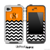 Custom Monogram Initials Orange Chevron Pattern Skin for the iPhone 5 or 4/4s LifeProof Case