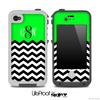 Custom Monogram Initials Lime Green Chevron Pattern Skin for the iPhone 5 or 4/4s LifeProof Case