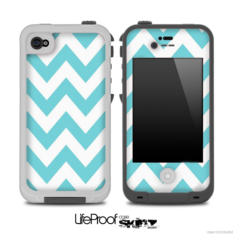 separation shoes 8fcfd 7823c Light Blue Chevron Pattern Skin for the iPhone 5 or 4/4s LifeProof Case