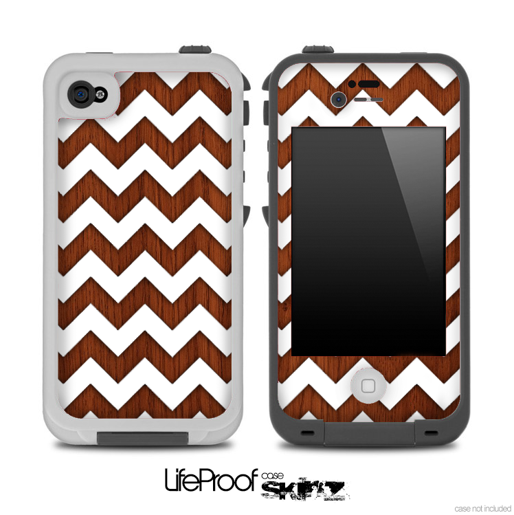 Rich Wood and White Chevron Pattern for the iPhone 5 or 4/4s LifeProof Case