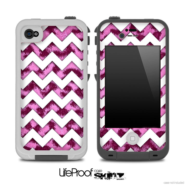 Pink Leopard Animal Print and White Chevron Pattern for the iPhone 5 or 4/4s LifeProof Case