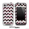 Tiny Pink Paws and White Chevron Pattern for the iPhone 5 or 4/4s LifeProof Case