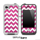 Pink Sparkle and White Chevron Pattern for the iPhone 5 or 4/4s LifeProof Case