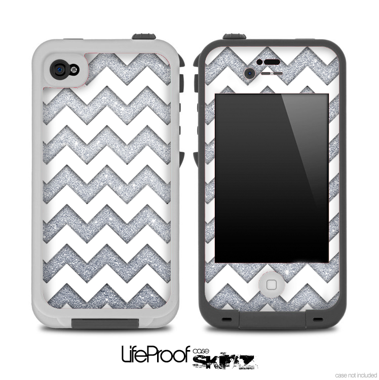 SIlver Sparkle and White Chevron Pattern for the iPhone 5 or 4/4s LifeProof Case
