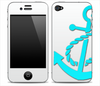 Solid White With Turquoise Anchor V3 Skin for the iPhone 3gs, 4/4s or 5