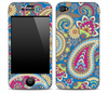 Pink, Blue and Yellow Paisley Print Skin for the iPhone 3gs, 4/4s, 5, 5s or 5c