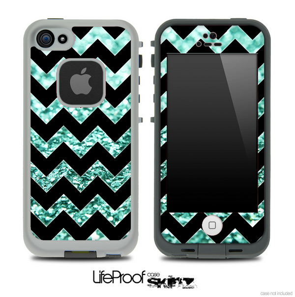 Black Chevron Aqua Blue Glimmer Skin for the iPhone 5 or 4/4s LifeProof Case