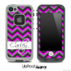 The Name Script Black Sublte Pink Chevron v4 Skin for the iPhone 5 or 4/4s LifeProof Case