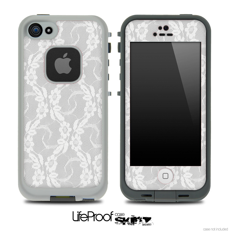 White Lace Skin for the iPhone 5 or 4/4s LifeProof Case