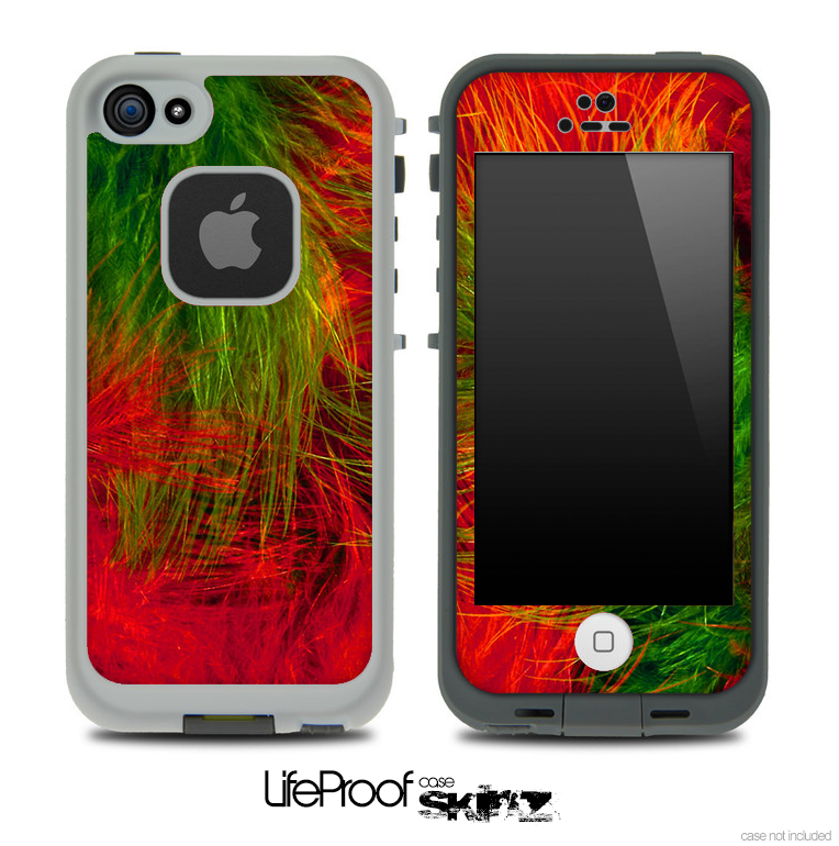 Red & Green Color Feathers Skin for the iPhone 5 or 4/4s LifeProof Case