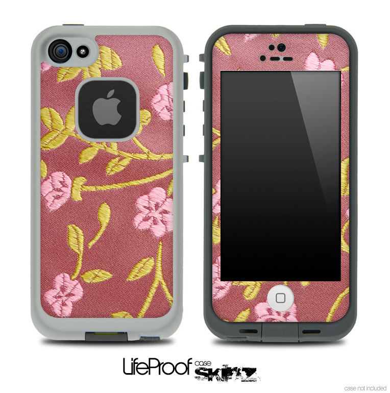 Pink Floral Fabric Pattern Skin for the iPhone 5 or 4/4s LifeProof Case