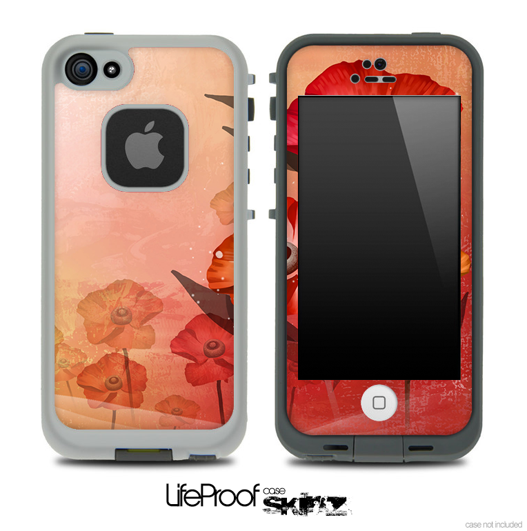 Peach Artistic Flower Skin for the iPhone 5 or 4/4s LifeProof Case