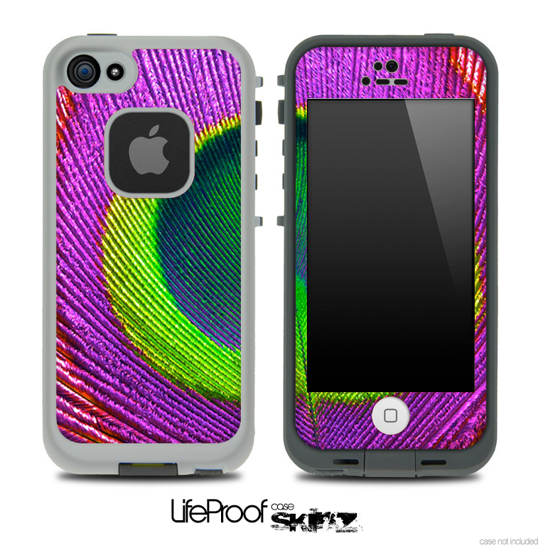 Purple Peacock Feather Skin for the iPhone 5 or 4/4s LifeProof Case