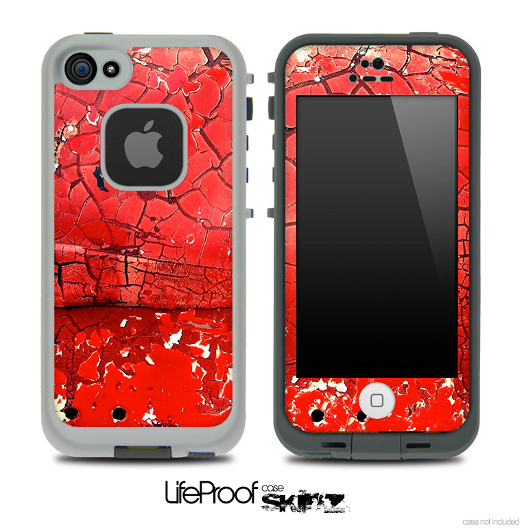 timeless design 4edc9 c8f3a Cracked Red Paint Skin for the iPhone 5 or 4/4s LifeProof Case