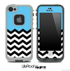 Blue Black and White Chevron Pattern V3 Skin for the iPhone 5 or 4/4s LifeProof Case