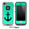 Trendy Green/Black with Black Anchor Skin for the iPhone 5 or 4/4s LifeProof Case
