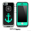 Trendy Green/Black with Anchor Skin for the iPhone 5 or 4/4s LifeProof Case