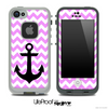 Trendy Light Pink/White Chevron with Black Anchor Skin for the iPhone 5 or 4/4s LifeProof Case