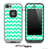 Trendy Green/White Chevron Skin for the iPhone 5 or 4/4s LifeProof Case