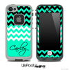 Trendy Green/White and Black Chevron with Your Name Custom Skin for the iPhone 5 or 4/4s LifeProof Case